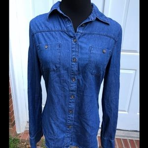 Merona Chambray Button-Down Long Sleeve Shirt